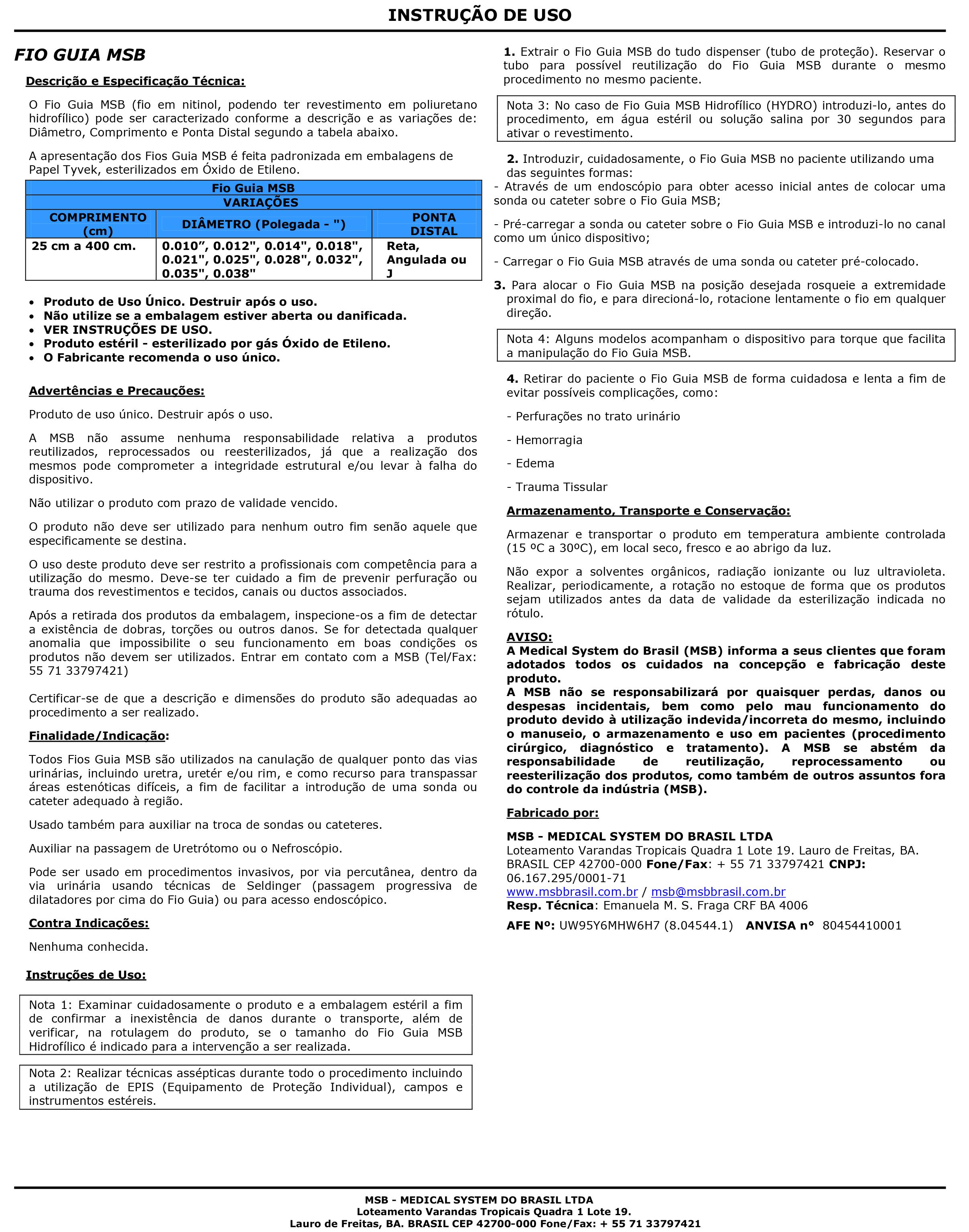 Instrução de Uso FIO Guia MSB – 80454410001